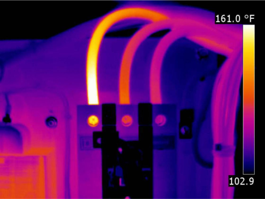 Thermal Image -Electrical wiring at connection point